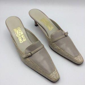 SALVATORE FERRAGAMO Logo BEIGE Leather MULES Heels